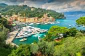 The famous Portofino village and luxury yachts,Liguria,Italy — Stock Photo