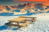Rest area in the French Alps,La Toussuire,France,Europe — Stock Photo
