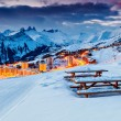 Beautiful sunset and ski resort in the French Alps,Europe — Stock Photo #59793563