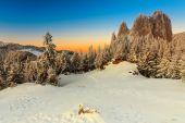 Fantastic sunset and winter landscape,Lonely-Rock,Carpathians,Romania,Europe — Stock Photo