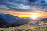 Ramshackle chalet and beautiful sunset,Ciucas mountains,Carpathians,Romania,Europe — Stock Photo