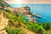 Vernazza village and fantastic sunrise,Cinque Terre,Italy,Europe — Stock Photo
