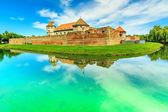 Fagaras fortress and clear lake in Transylvania,Romania,Europe — Stock Photo