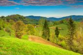Spring landscape and farmland,Holbav,Transylvania,Romania,Europe — Stock Photo