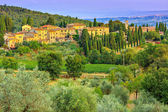 Tuscany landscape with town and olive plantation on the hill  — Stock Photo