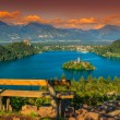 Resting place and Bled Lake panorama,Slovenia,Europe — Stock Photo #73577865