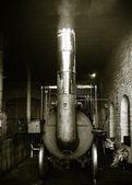 Old Steam Engine In a Locomotive shed — Stock Photo