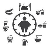 Concept of obesity caused by food and drink, Vector icons — Stock Vector