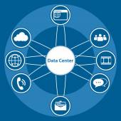 Big Data icon set, Data center and Centralized — Stock Vector