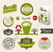 有機食品ラベル セット. — ストックベクタ