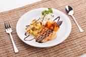 Blueberry yogurt ice cream serve with waffle — Stock Photo