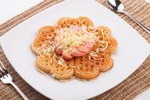 Waffle with sauce — Stok fotoğraf