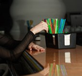 Plastic tubes for drinks at the bar. — Stock Photo
