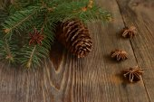 Christmas tree with pine cones and spices — Stock Photo