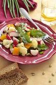 Salad with cauliflower, radish, sweet pepper and greens — Stock Photo