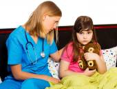 Pediatrician Supporting Sick Little Patient — Stock Photo