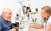 Happy Old Patient at the Ophthalmology — Stock Photo
