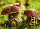Fantasy mushroom houses — Stock Photo