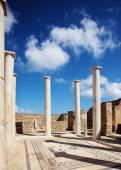 Oude kolommen en mozaïek in Delos, Griekenland. — Stockfoto