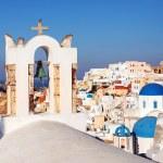 Oia Village Santorini Bell tower, Greece. — Stock Photo #66653615