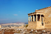 Caryatids columns and temple. Athens, Greece. — Stockfoto