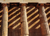 Temple of Hephaestus, close up of doric style columns. Athens. — Stock Photo