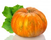 Yellow pumpkin vegetable with green leaves isolated on white bac — Stock Photo