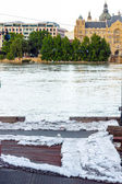 Worki z piaskiem w powodzi — Zdjęcie stockowe