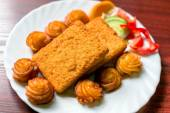 Delicious food on white plate — 图库照片
