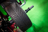 Wheel balancing close up — Stock Photo