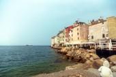 Village landscape with sea — Stock Photo