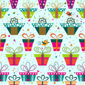 Seamless gift  pattern, vector — Stock Vector