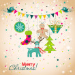 Christmas greeting card, vector — Stock Vector #59826617