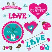 Valentines day cards with ornaments, vector — ストックベクタ