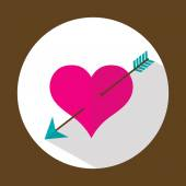 Valentine heart, flat icon with long shadow, vector — Stock Vector