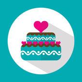 Valentine cake, flat icon with long shadow, vector  — Cтоковый вектор