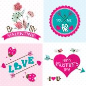 Valentines day cards with ornaments, vector — Vector de stock