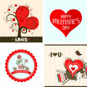 Valentines day cards with ornaments, vector — Stock Vector