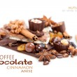 Various pieces of chocolate with nuts, raisins and coffee beans  — Stock Photo #67101795
