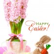 Easter card: Hyacinth in a cup, rabbit with carrots — Stock Photo #67273959