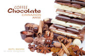 Various pieces of chocolate with nuts, raisins and coffee beans — Stock Photo