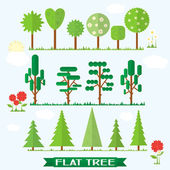 Set flat tree and flower — Stock Vector