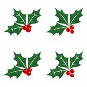 Christmas holly berry icons — Stock Vector