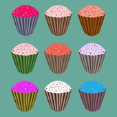 Set of sweety cupcakes — Stock Vector