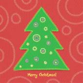 Christmas tree in patchwork style. — Stock Vector