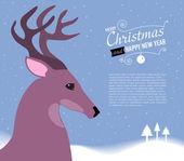 веселая рождественская открытка с оленями. — Cтоковый вектор