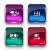 Set of glass banners. Different colors — Stock Vector