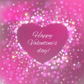 Happy Valentine Day Card with bokeh lights — Vetor de Stock
