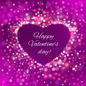 Happy Valentine Day Card with bokeh lights — Stock Vector