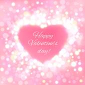 Happy Valentine Day Card with bokeh lights — Vecteur